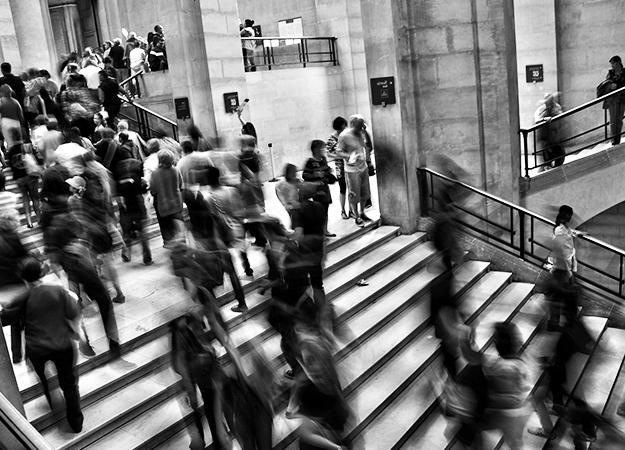 People Walking Down Steps
