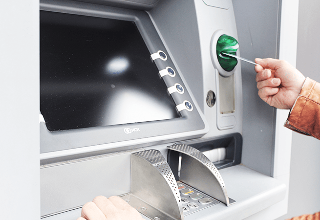 ATM Machine Being Used